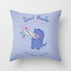 Social Monster Blue Throw Pillow