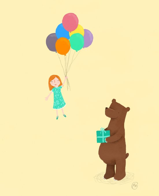 Bear and girl: party Art Print