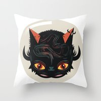 Devil cat Throw Pillow