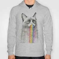 Grumpy Rainbow Cat Watercolor Hoody