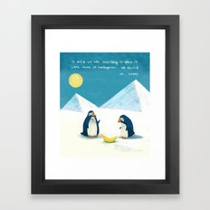Penguins and bananas Framed Art Print