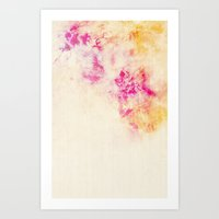 girly pink orange galaxy Art Print