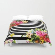 Stripes Floral Duvet Cover