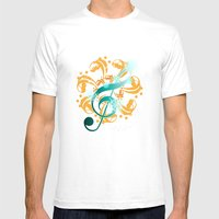 Music Notes  Mens Fitted Tee White SMALL