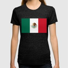 The Mexican national flag - Authentic high quality file Womens Fitted Tee Tri-Black SMALL