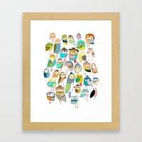 Owls. owl illustration, owl art, owl decor, pattern, art, design, animal, nature, kids, children,  Framed Art Print