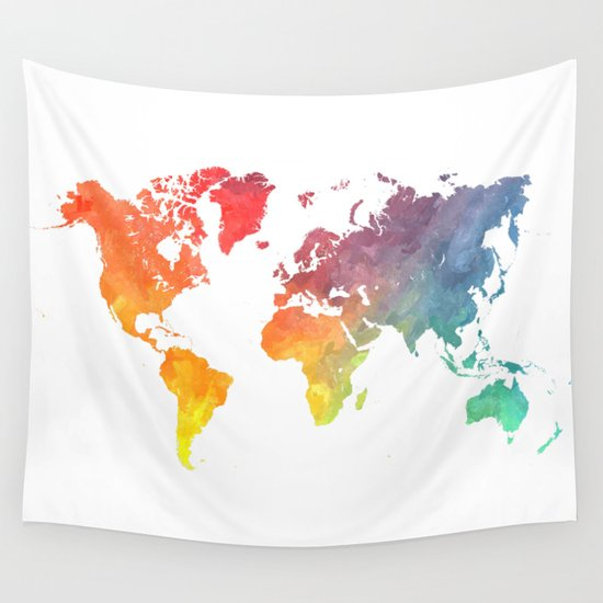 Map of the world colored Wall Tapestry by Jbjart Society6