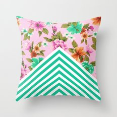 Tropical Floral Chevron Throw Pillow