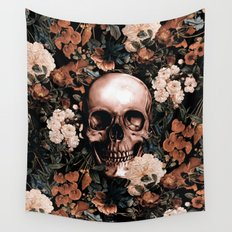SKULL AND FLOWERS II Wall Tapestry