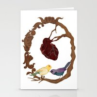 Two birds and a heart Stationery Cards