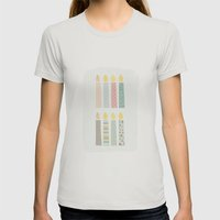 Candles Pattern Womens Fitted Tee Silver SMALL