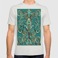 swirls Mens Fitted Tee Silver SMALL