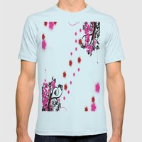 Neon Flower Mens Fitted Tee Light Blue SMALL