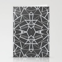 Abstract Lines Black and Silver M Stationery Cards
