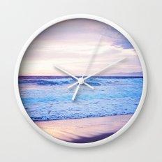 Purple Sunset over Hermosa Beach, Los Angeles  Wall Clock
