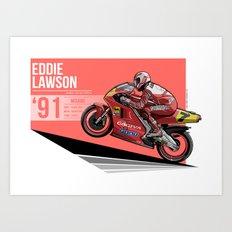Eddie Lawson - 1991 Misano Art Print
