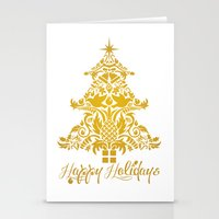 Ornate Pineapple Holiday Tree Stationery Cards