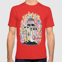 Mushrooms Mens Fitted Tee Red SMALL