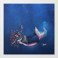 Mermaid & Sailor Canvas Print