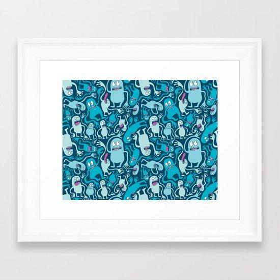 Monster Pattern Framed Art Print