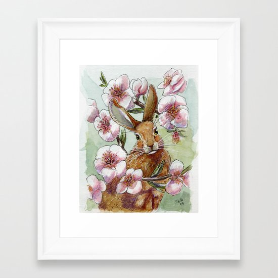 Amandine - Rabbit and flowers Framed Art Print