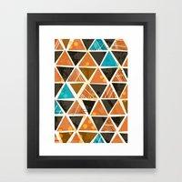 Tribal Triangles - orange Framed Art Print