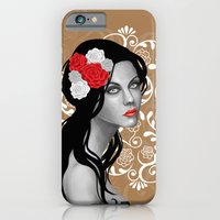 iPhone & iPod Case featuring Goth Girl with Flowers in her Hair by SL Scheibe