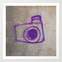 Purple Camera Graffiti Art Print