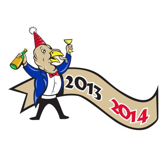 Happy New Year 2014 Turkey Toasting Wine Cartoon Art Print