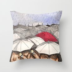 Standing Out in the Rain Throw Pillow
