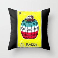 Loteria Ape #9: El Barril Throw Pillow