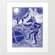 Coyote Dancer (Violet) Art Print