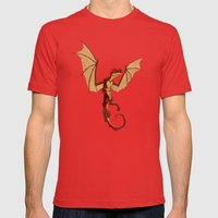 Here be dragons Mens Fitted Tee Red SMALL