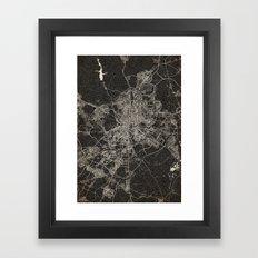 madrid map ink lines 2 Framed Art Print
