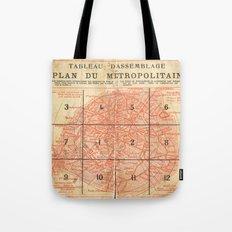 Vintage Paris City Centre Map Tote Bag