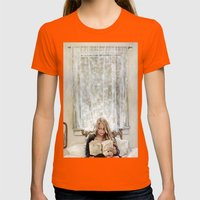 Morning Read Womens Fitted Tee Orange SMALL