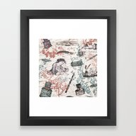 Framed Art Print featuring Love Letters by Paula Belle Flores