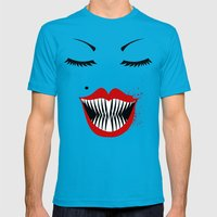 MANEATER. Mens Fitted Tee Teal SMALL