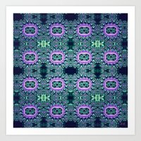 Purple & Teal Lace Art Print