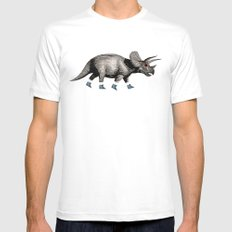 Triceratops Mens Fitted Tee White SMALL
