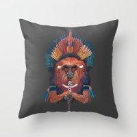 Red Fire Monkey Throw Pillow