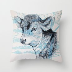 Calf in the Pasture Throw Pillow