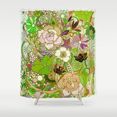 Detailed summer floral pattern, green Shower Curtain