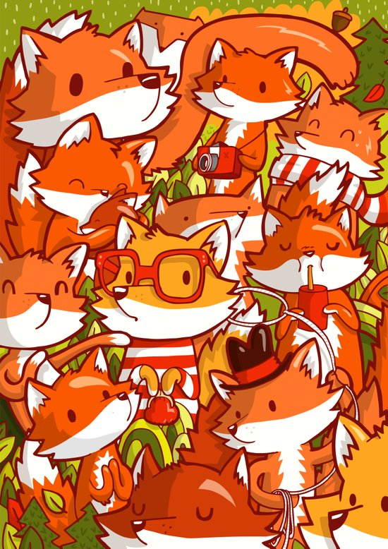 The Fox Family Art Print