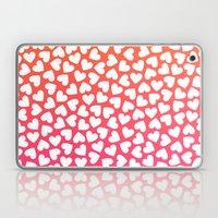 White Hearts On Pink-Ora… Laptop & iPad Skin