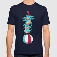 Blue Birds Balancing Boiling Beverages on a Beach Ball Mens Fitted Tee Navy SMALL