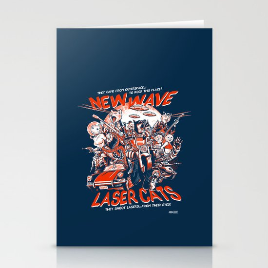 New Wave Laser Cats Stationery Card