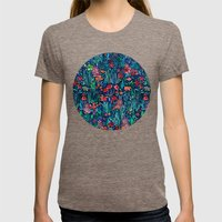 Tropical Ink - a watercolor garden Womens Fitted Tee Tri-Coffee SMALL