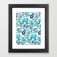 Dusty Pink, White and Teal Elephant and Floral Watercolor Pattern Framed Art Print