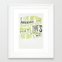 I Love Anything Awkward and Imperfect Because That's Natural and That's Real - Marc Jacobs Framed Art Print